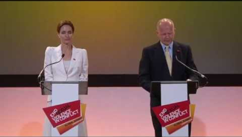 William Hague and Angelina Jolie give the opening address at the Global Summit